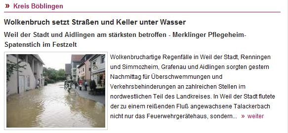 Überschwemmte Bachgasse in Aidlingen