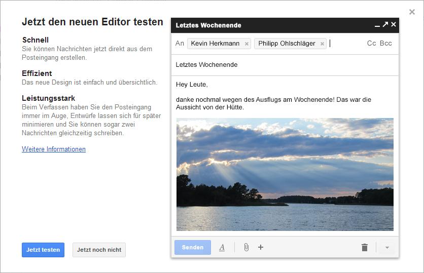 Jetzt den neuen Gmail Editor testen