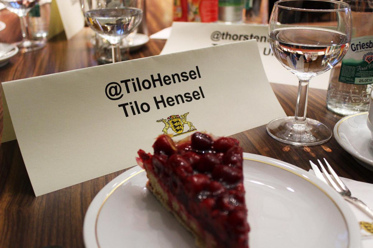 Jeder Blogger hat ein Namensschild mit Twitternamen und Klarnamen erhalten