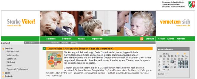 Screenshot von vaeter.nrw.de: Jugendliche Chatsprache: Müssen Väter sie verstehen?