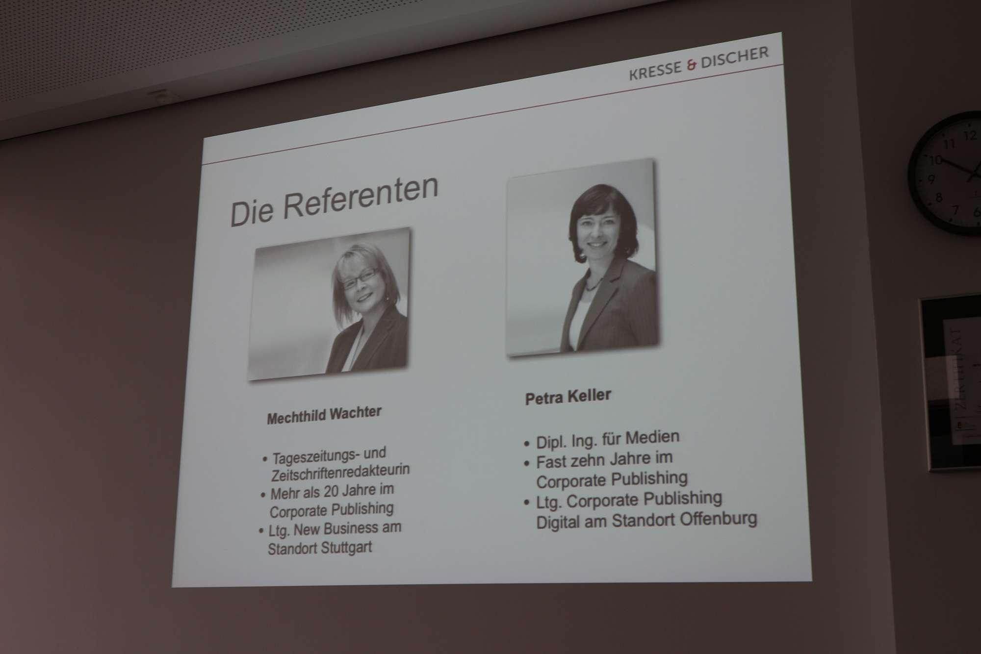 Die Referenten: Mechthild Wachter und Petra Keller