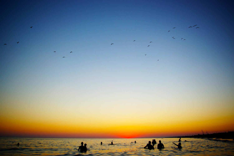 Sonnenuntergang über dem Meer, Rom