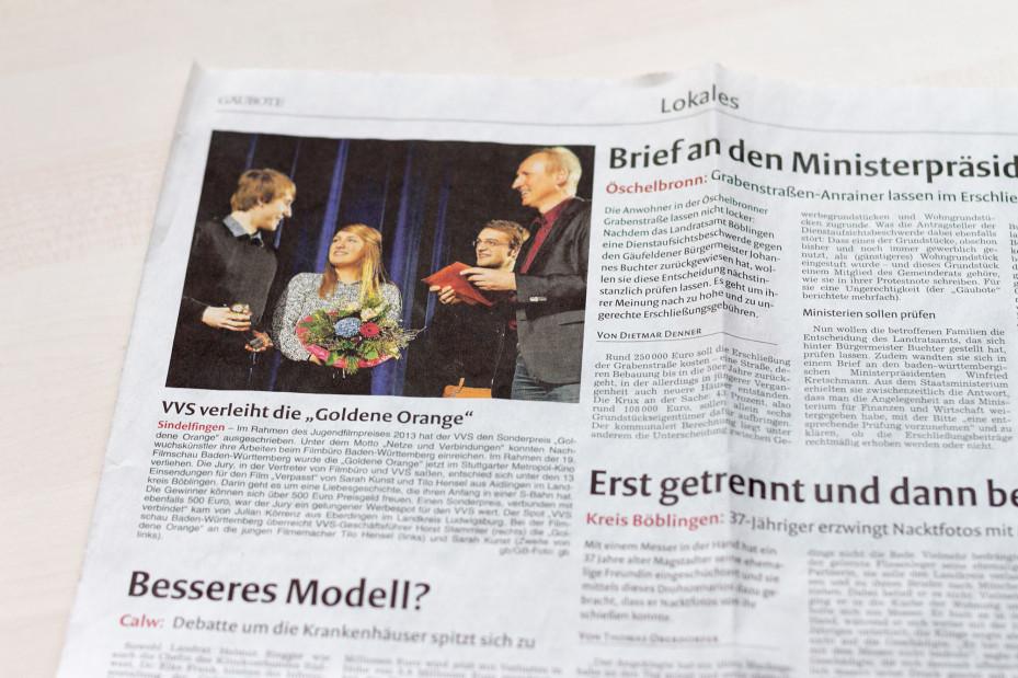 """Gäubote vom 13.12.2013: """"VVS verleiht die """"Goldene Orange"""""""