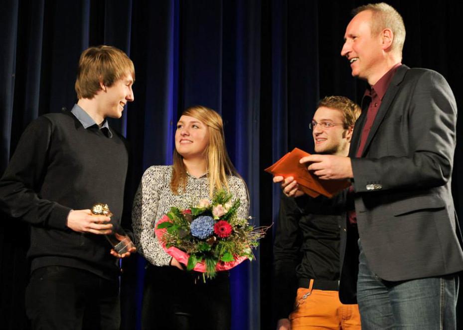 Übergabe der Goldenen Orange: Tilo Hensel, Sarah Kunst, Darsteller Jonathan Rieder & VVS-Geschäftsführer Horst Stammler  (Foto:Frank von zur Gathen)