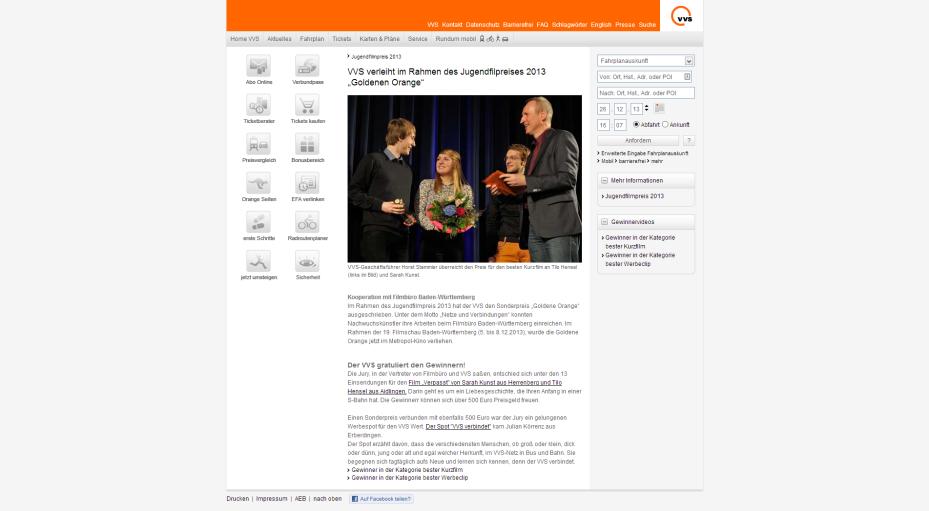 VVS-Pressemitteilung zur Goldenen Orange