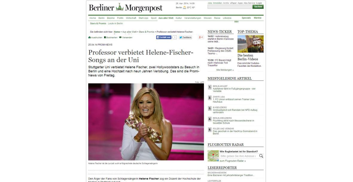 """Berliner Morgenpost: """"Professor verbietet Helene-Fischer-Songs an der Uni"""""""