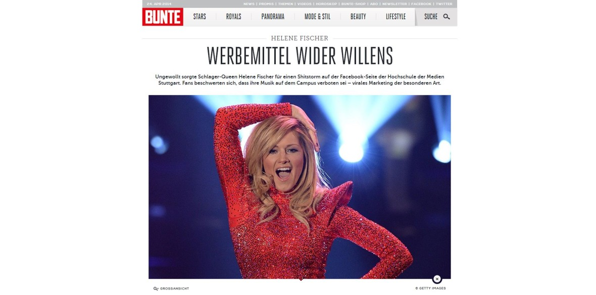 """Bunte: """"Werbemittel wider Willens"""""""