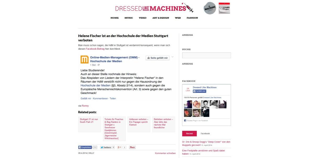 """Dressed Like Machines: """"Helene Fischer ist an der Hochschule der Medien Stuttgart verboten"""""""