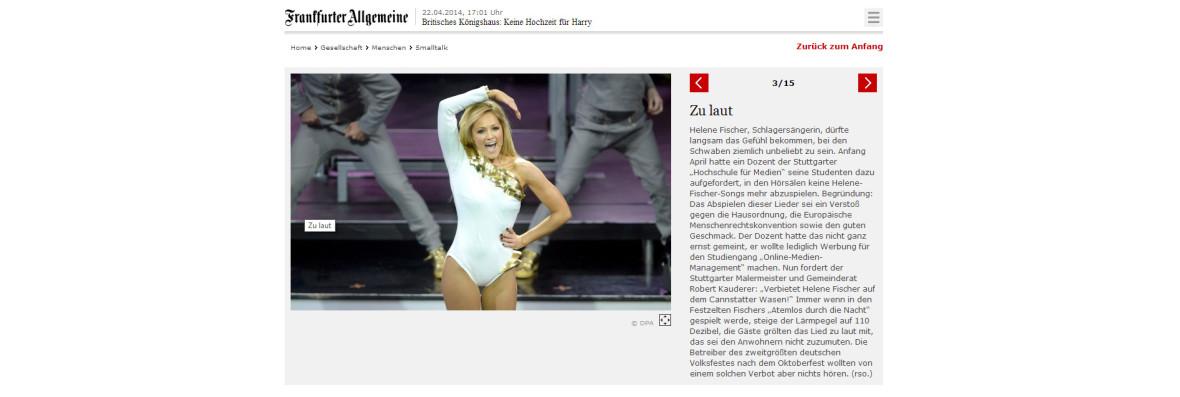 """Frankfurter Allgemeine: """"Zu laut"""""""