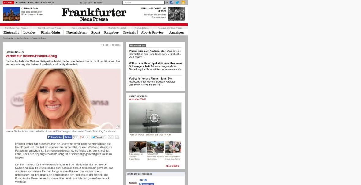 """Frankfurter Neue Presse: """"Verbot für Helene-Fischer-Song"""""""