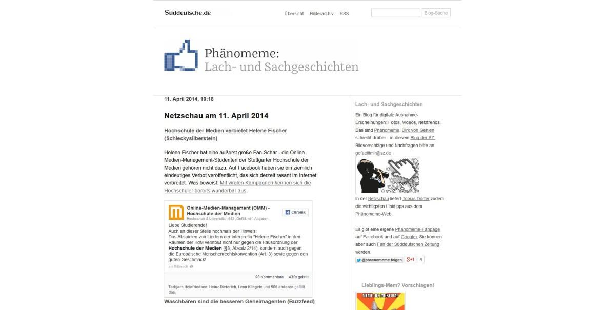 """Süddeutsche: """"Hochschule der Medien verbietet Helene Fischer"""""""