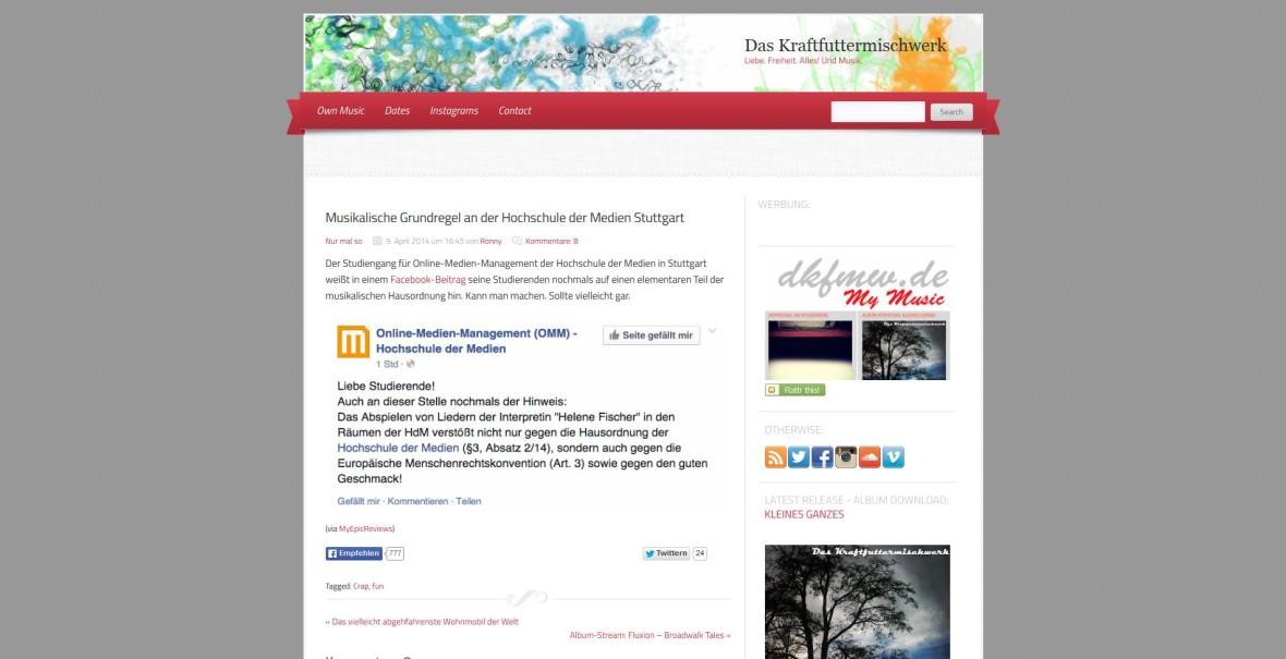"""Kraftfuttermischwerk: """"Musikalische Grundregel an der Hochschule der Medien Stuttgart"""""""