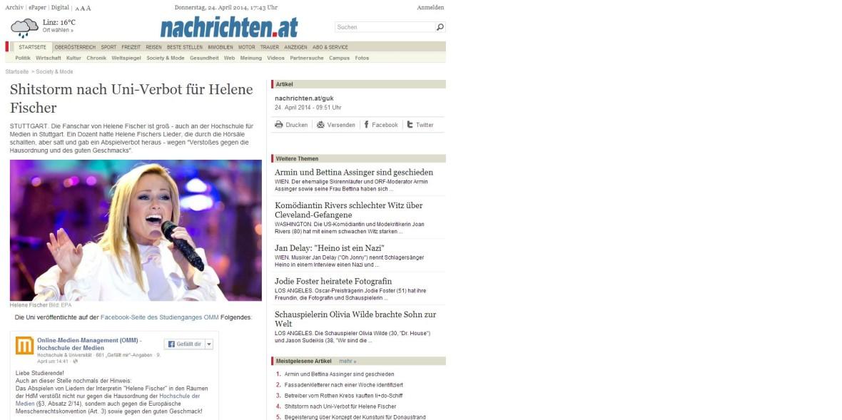 """Nachrichten.at: """"Shitstorm nach Uni-Verbot für Helene Fischer"""""""
