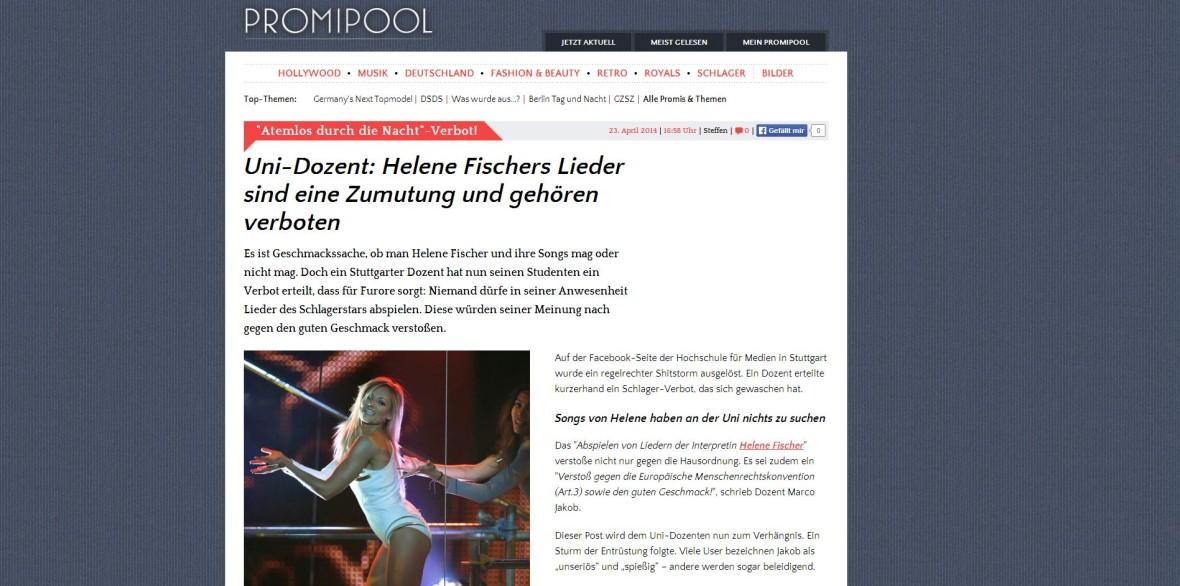 """Promipool: """"Uni-Dozent: Helene Fischers Lieder sind eine Zumutung und gehören verboten"""""""