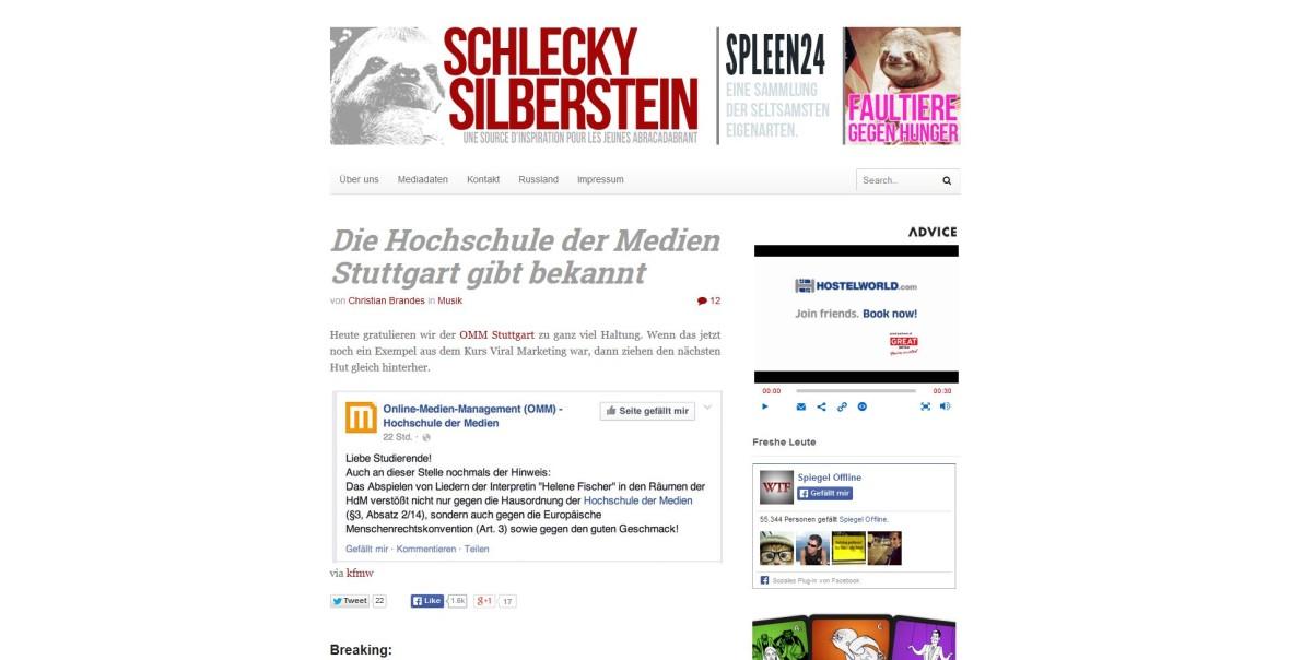 """SchleckySilberstein: """"Die Hochschule der Medien Stuttgart gibt bekannt"""""""