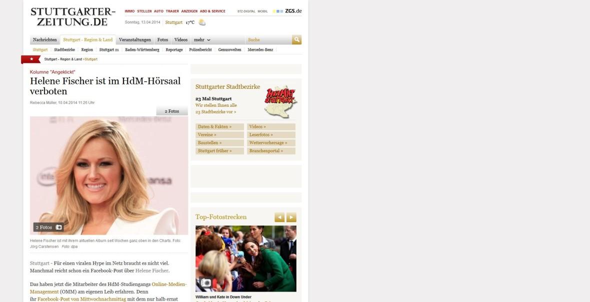 """Stuttgarter Zeitung: """"Helene Fischer ist im HdM-Hörsaal verboten"""""""