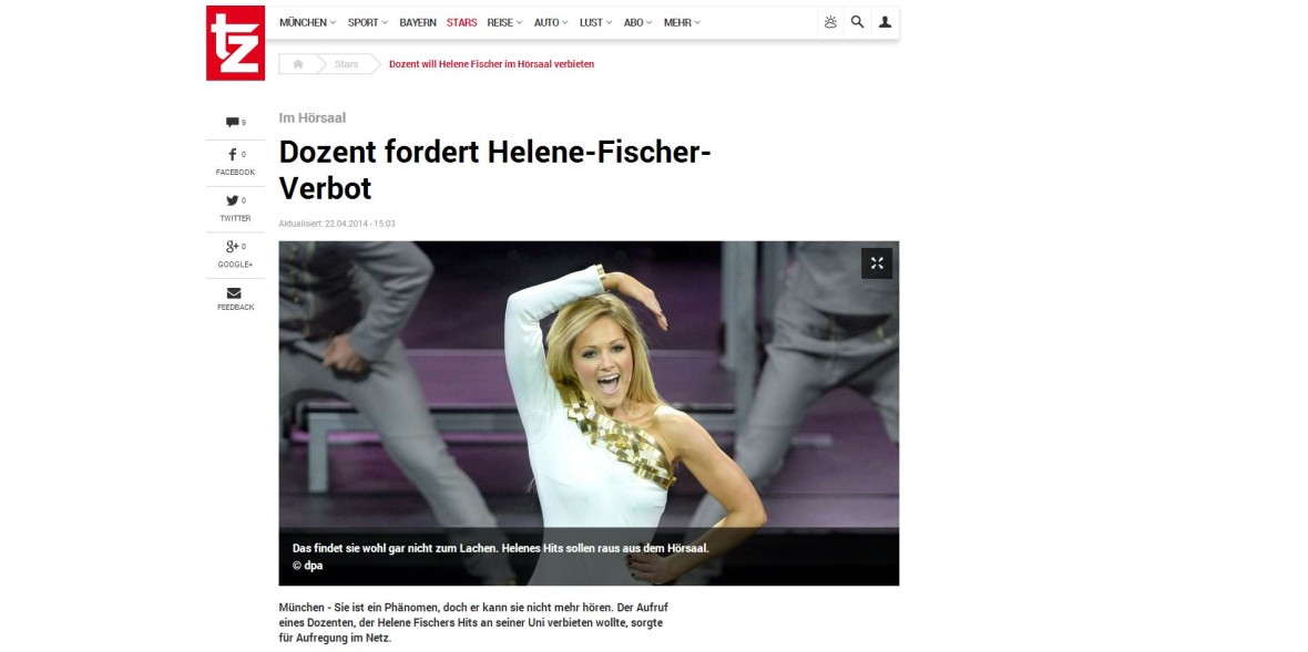 "TZ: ""Dozent fordert Helene-Fischer-Verbot"""