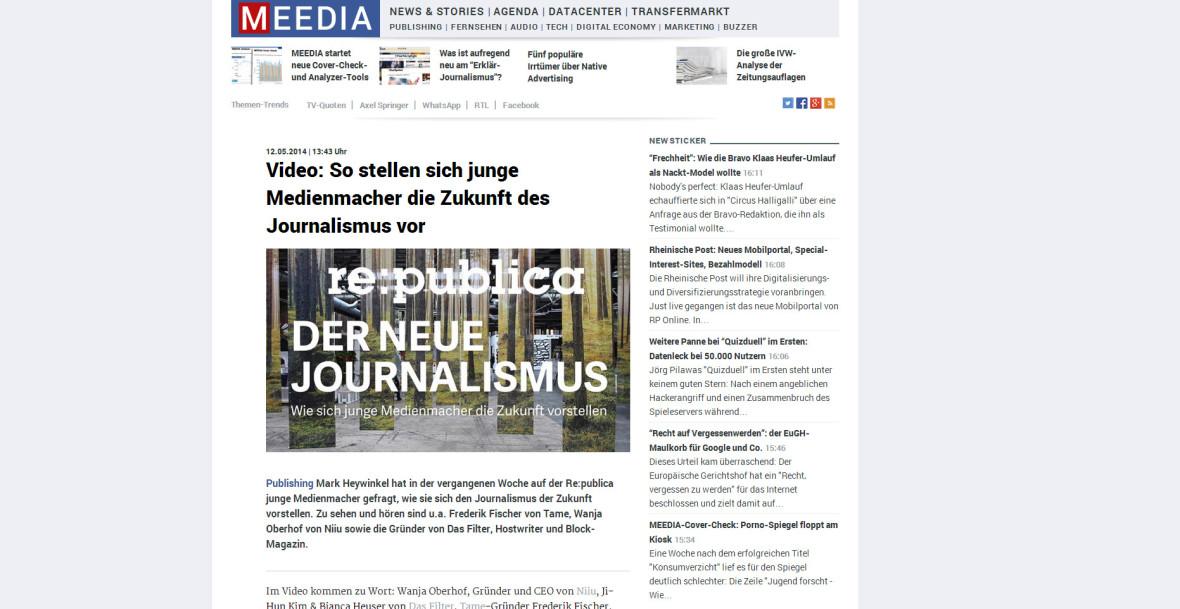 """MEEDIA: """"Video: So stellen sich junge Medienmacher die Zukunft des Journalismus vor"""""""