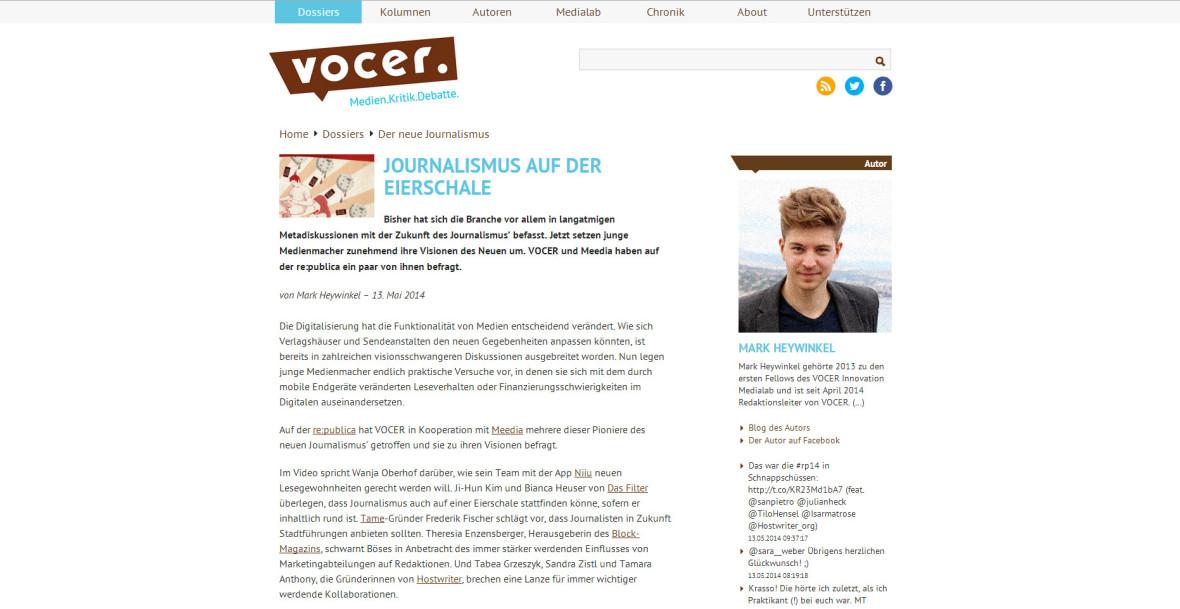 """Vocer: """"Journalismus auf der Eierschale"""""""
